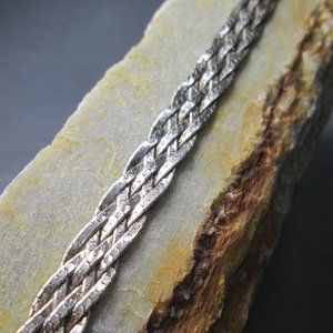Sterling Silver Braided Chain Bracelet, 4 Strand
